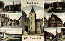 Postcard Alfeld an der Leine, Leinebrücke, Rathaus, Seminarstraße, Schwimmbad