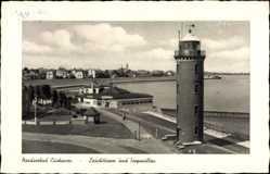Postcard Cuxhaven in Niedersachsen, Leuchtturm und Seepavillon