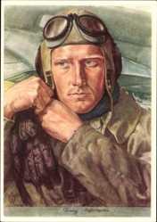 Künstler Ak Willrich, Wolfgang, Aufklärungsflieger, Luftwaffe, Pilotenhelm