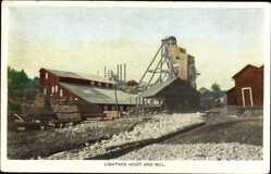 Ak USA, Lightner Hoist and Mill, Sägewerk, Holzbretter, Steine