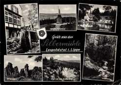 Postcard Leopoldstal Horn Bad Meinberg im Kreis Lippe, Silbermühle, Externsteine