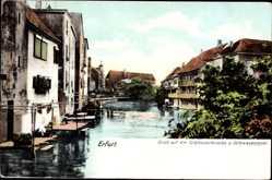 Ak Erfurt in Thüringen, Blick auf die Schlösserbrücke und Schwaneninsel