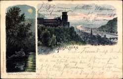 Litho Heidelberg am Neckar, Partie am Schlossgarten, Burgruine, Fluss