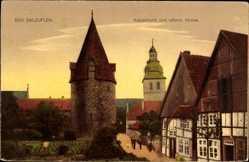 Postcard Bad Salzuflen im Kreis Lippe, Katzenturm und reformierte Kirche