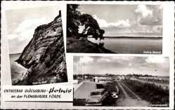 Postcard Glücksburg an der Ostsee, Holnis Kliff, Strand, Campingplatz, Zelt, Wohnwagen