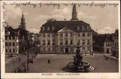 Postcard Erlangen in Mittelfranken Bayern, Blick auf Rathaus mit Paulibrunnen, Platz