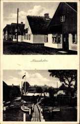 Postcard Maasholm in Schleswig Holstein, Wohnhäuser und kleiner Steg