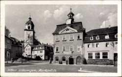 Postcard Bad Salzungen im Wartburgkreis, Partie am Marktplatz mit Rathaus