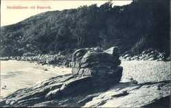 Postcard Ransvik Kullen Schweden, Stenhällarne, Felsen, Strand