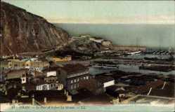 Ak Oran Algerien, vue générale du Port et le fort la Moune