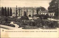 Postcard Derbyshire East Midlands, Chatsworth House, Duke of Devonshire