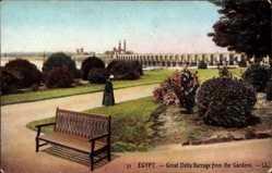 Postcard Ägypten, Great Delta Barrage from the Gardens, Talsperre