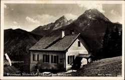 Postcard Brunnhaus Bischofswiesen, Söldenköpfl gegen Watzmann, Alpenhaus