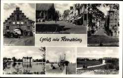 Postcard Flensburg in Schleswig Holstein, Nordertor, Holm und Sudermarkt,Rathausstraße