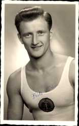 Foto Ak Turner Fritz Böhm, Aus Lauscha, Portrait, DDR Nationalmannschaft 1958