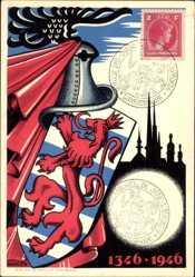Wappen Künstler Ak Mehlen, 1346 bis 1946, Retour des Cendres de Jean L'Aveugle