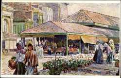Künstler Ak Frankreich, Blumenverkäuferinnen, Straßenpartie, Markthalle