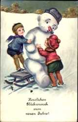 Postcard Glückwunsch Neujahr, Schneemann, Kinder, Schlitten