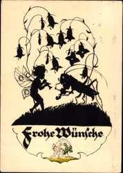 Scherenschnitt Ak Frohe Wünsche, Fee, Grashüpfer, Glockenblumen