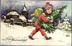 Postcard Frohe Weihnachten, Kind mit Tannenbaum, Geschenke, Schnee