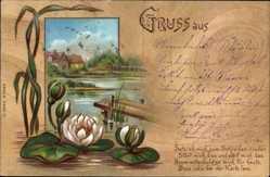 Postcard Setz ich mich zum Schreiben nieder.., Teichrosen, Kitsch