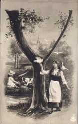 Buchstaben Ak Y, Mädchen mit Tauben auf der Hand, Bernhardiner Welpe, NPG 195