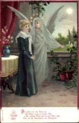 Künstler Ak Das Eltern Grab, Frau mit Engel, Da reden mir die Toten zu