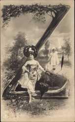 Buchstaben Ak Z, Frau und Mädchen mit Regenschirmen, NPG 195