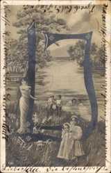 Buchstaben Ak D, Kinder im Wasser, Frau in langem Kleid, Flusspartie