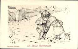 Künstler Ak Kaulbach, Hermann,Zwei kleine Kinder, Winter, Ein kleiner Nimmersatt