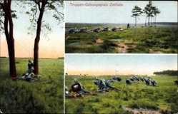 Postcard Zeithain in Sachsen, Truppen Übungsplatz, Soldaten, Tornister, Pickelhaube