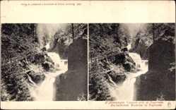 Stereo Ak Wasserfall bei Tegernsee im Kreis Miesbach Oberbayern