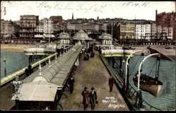 Postcard Brighton South East England, On the West Pier, Rettungsboot, Steg, Häuser