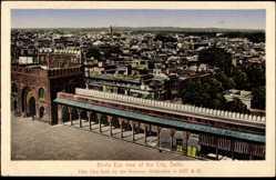 Postcard Delhi Indien, Bird's eye view of the City, Blick auf den Ort, Platz
