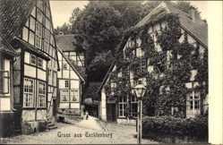 Postcard Tecklenburg in Nordrhein Westfalen, Straßenpartie mit Fachwerkhäusern