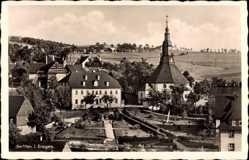 Postcard Seiffen im Erzgebirge, Gasthof Erbgericht Buntes Haus, Kirche