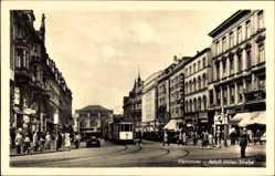 Postcard Hannover, Straßenbahn 27 passiert Hansa Hotel und Palast Theater, Hitlerstr