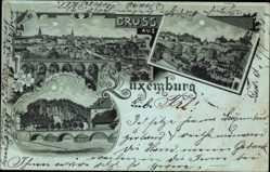 Mondschein Litho Luxemburg, Stadtansicht, Brücke, Gesamtansicht