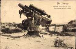 Postcard Zeebrugge Westflandern, Mortier défendant la côte, Gun protected the coast