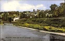 Postcard Selkirk Scotland, City from the river Ettrick