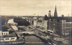 Postcard Malmö Schweden, Norra Vallgatan, Brücke, Kirchturm