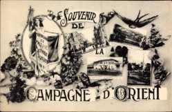 Postcard Mazedonien, Statue, Straßenpartie, Schwalbe, Campagne d'Orient