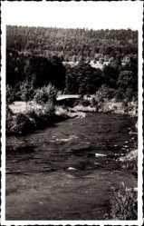 Postcard Sitzendorf an der Schwarza in Thüringen, Schwarzapartie mit Pocherbrücke