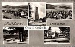 Postcard Oberhundem Kirchhundem Sauerland, Rhein Weser Turm, Jugendherberge, Schloss