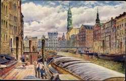 Künstler Ak Ullmann,Max, Hamburg Altstadt, Fleet,Reimerskirche, Katharinenkirche