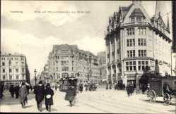 Postcard Hamburg, Blick auf Mönckebergstraße und Stadt Cafe, Straßenbahn Nr 7