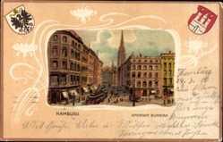 Präge Passepartout Wappen Litho Hamburg Mitte, Großer Burstah, Straßenbahn
