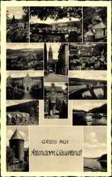 Postcard Attendorn Sauerland, Panorama, Kapelle, Talsperre, Straßenpartie
