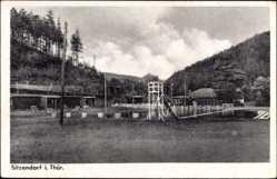 Postcard Sitzendorf an der Schwarza in Thüringen, Schwimmbad mit Springturm