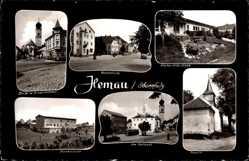 Postcard Hemau auf dem Tangrintel Oberpfalz Bayern, Knabenvolksschule, Kriegerdenkmal